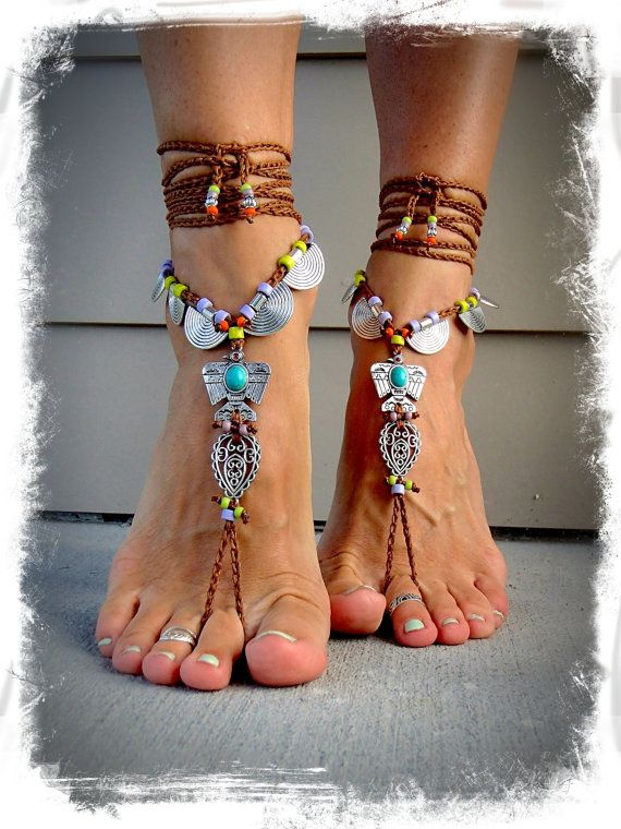 THUNDERBIRD BAREFOOT Sandals Toe Ankle Bracelet Native American Crochet SANDALS Cowgirl wedding Paisley Ankle wrap sandal Jewelry GPyoga