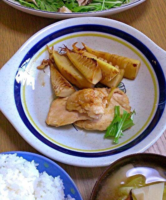 ・ごはん ・たけのことキャベツの味噌汁 ・鶏むね肉とたけのこの照り焼き ・水菜と焼きしいたけのサラダ - 11件のもぐもぐ - 4/22 昼ごはん by therere