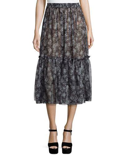 Tiered Ruffle Peasant Skirt, Gray