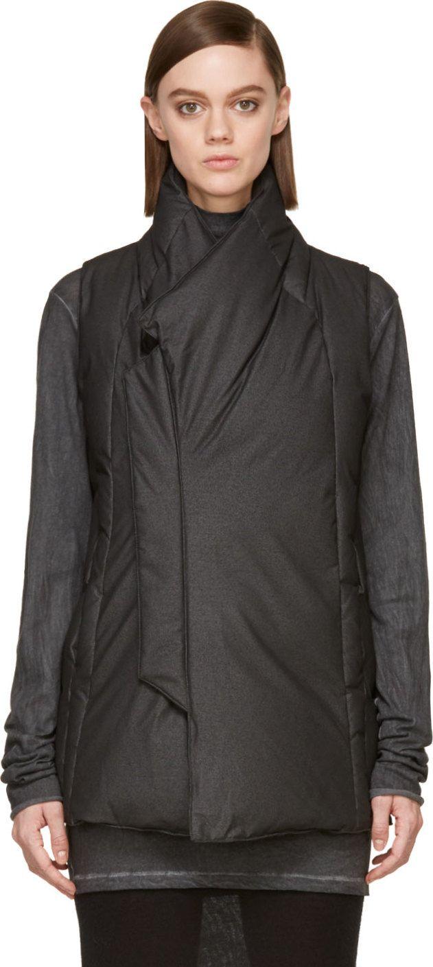 MA Julius Grey Silk & Down Quilted Vest
