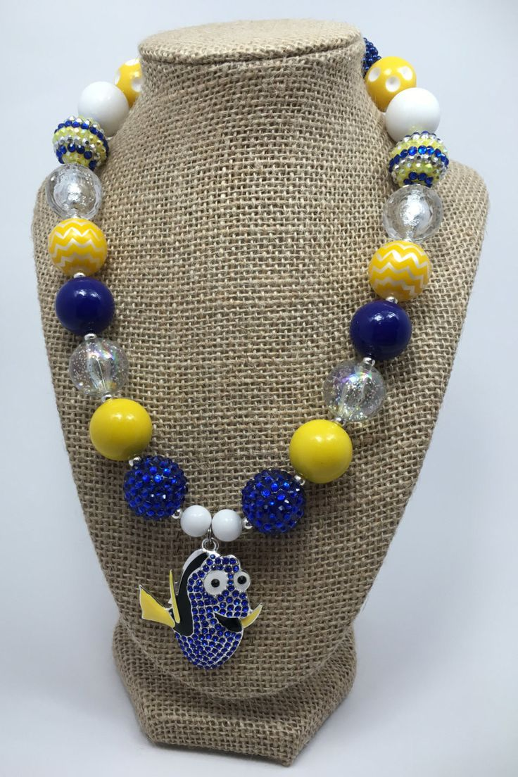 Dory Fish Finding Dory Movie Chunky Bubblegum Necklace by KhloeRoseDesigns on Etsy