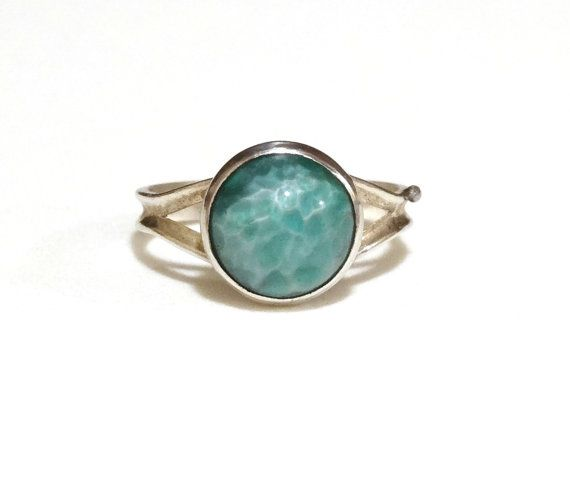 Vintage #Amazonite #Ring #Sterling Silver Mint Green Stone Opal Like Irridescence Simple Band Size 5 Marked Sterling