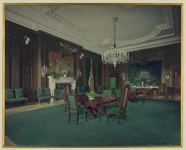 Hand Tinted Photograph Of The State Dining Room After The