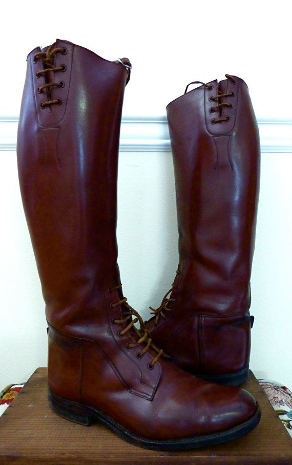 Antique Equestrian English Riding Boots Leather by fleavintage, $265.00.... For when I finally take those English Riding Lessons... Hmm I really want these!