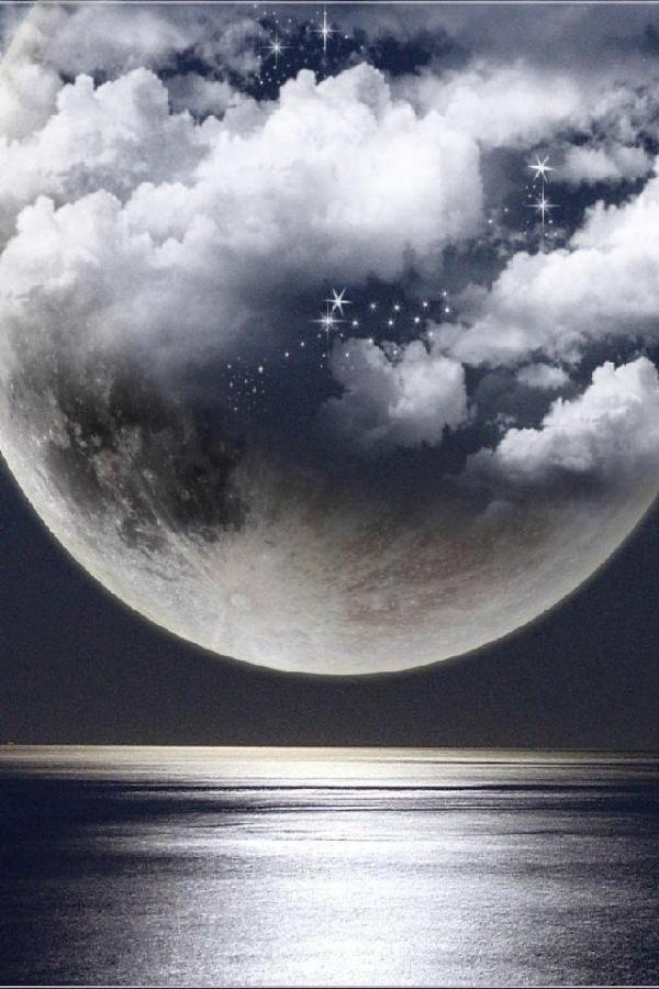 Moon:  A clouded Full Moon.