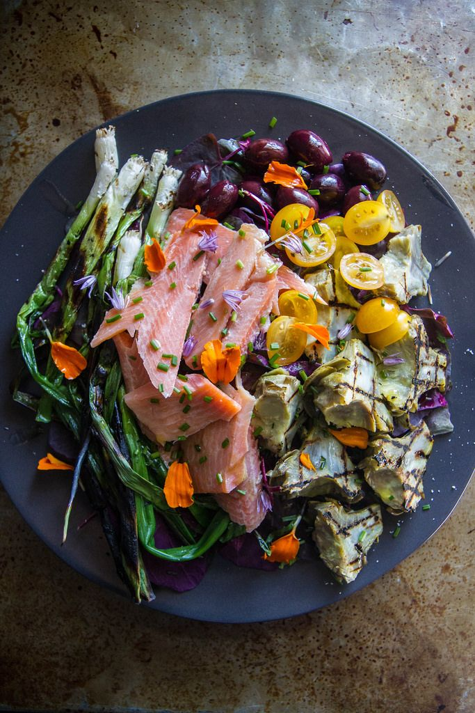 Grilled Artichoke, Smoked Trout and charred Green Onion Salad