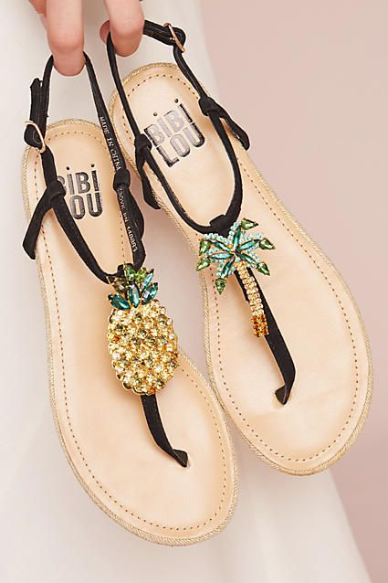 Bibi Lou Pinapple Palm Sandals