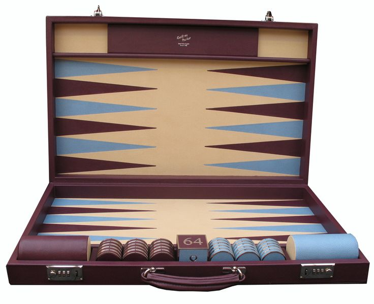 A Bespoke backgammon in Aubergine, Magnolia & Sky with leather and nickel stones and cube. #Bespoke #Backgammon #Handmade #Attaché #Contemporary