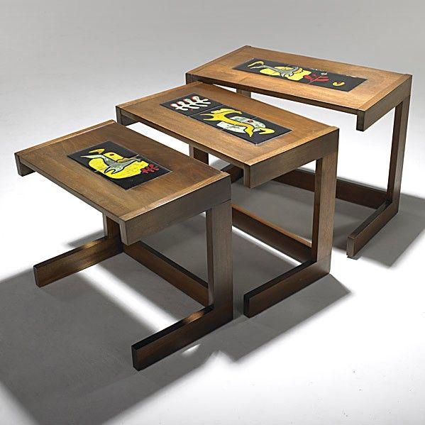 Vladimir Kagan; Mahogany Nesting Tables With Inlaid Alexandra Kasuba Tiles  For Dreyfuss, 1950s.