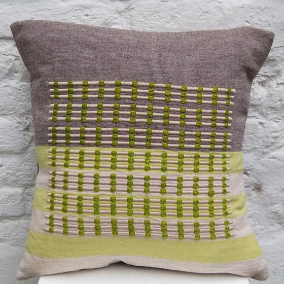 Green Cushion handwoven cushion by Zoe Acketts, available to buy online or at Golden Hare Gallery in Ampthill, Bedfordshire