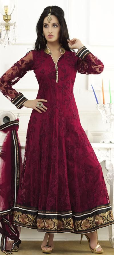 $228.25 Red Full Sleeve Net Long Anarkali Salwar Kameez 18642