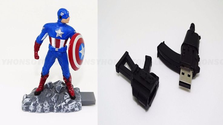 Captain America Marvel 8GB Or Gun Usb Flash Drive Storage Gift Memory Stick | eBay