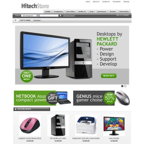 Computers CS-Cart Template is specially designed for electronics, computers, mobile stores. Garmonical colors combination of grey and black with white background of central content and grey footer. There are the best decorate for Laptops & Notebooks, Servers, Monitors, Projectors & Screens, Keyboards & Mice,