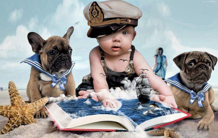 Dziecko, Psy, Książka, Mops