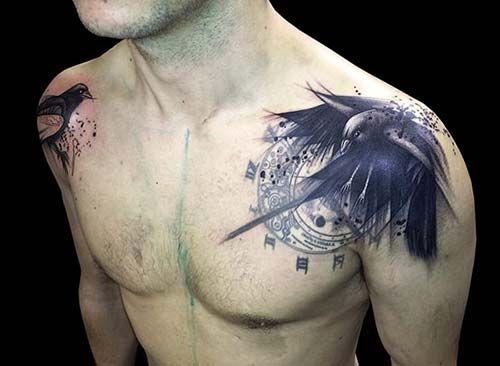 erkek omuz karga dövmesi man shoulder crow tattoo