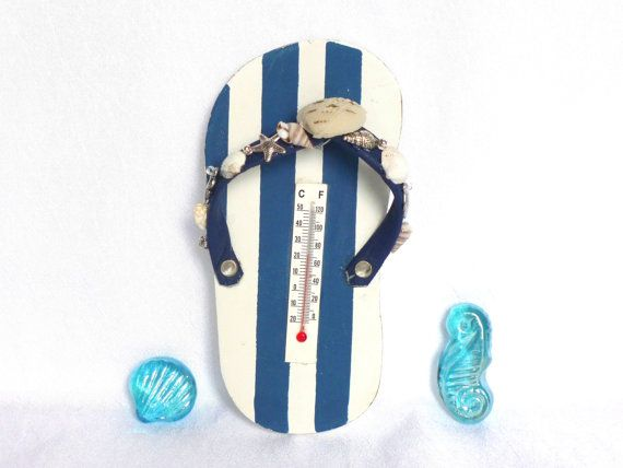 sandal barometer nautical beach house decor by LonasART on Etsy