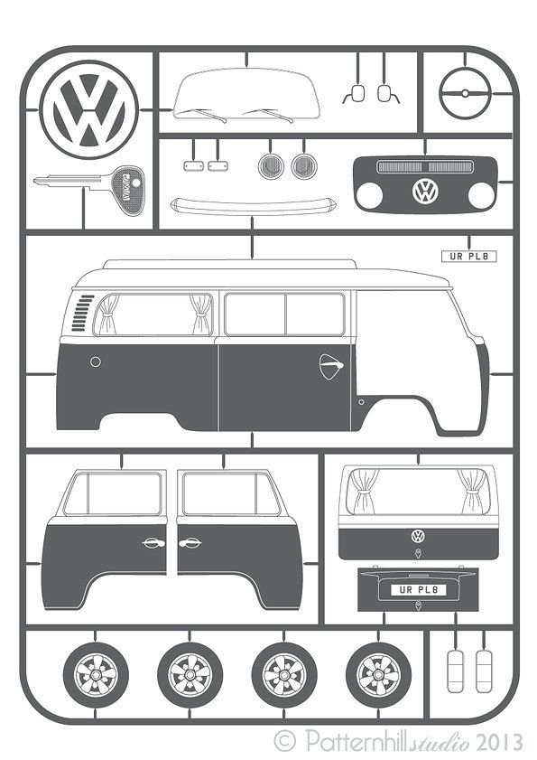 VW Bay Camper 'Kit Print' Find VW parts at www.breakeryard.co.uk save up to 85%.