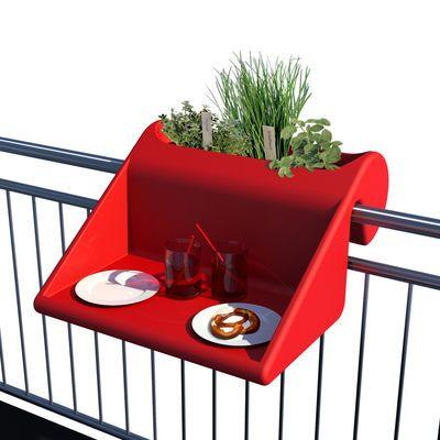 Table d'appoint Balkonzept à suspendre / Pour balcons - Jardinière intégrée Rouge - Rephorm