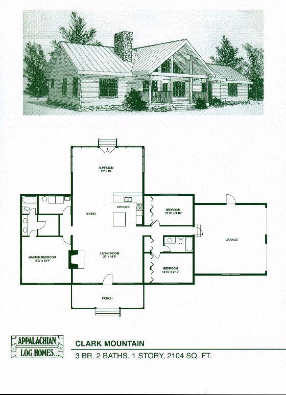 Clark Mountain - 3 Bed, 2 Bath, 1 Story, 2104 sq. ft., Appalachian Log & Timber Homes, Hybrid Home Floor Plan