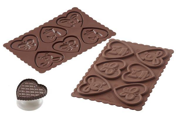 Forma do herbatników serca w czekoladzie LOVE SILIKOMART CKC15