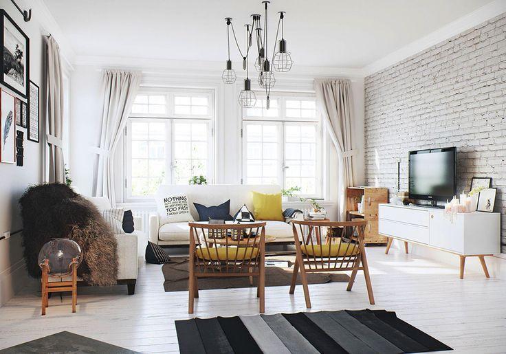 Светлая кирпичная стена в интерьере гостиной #кирпич #дизайн #интерьер #декор #тренды #стиль #стена #лофт #brick #wall #interior #design