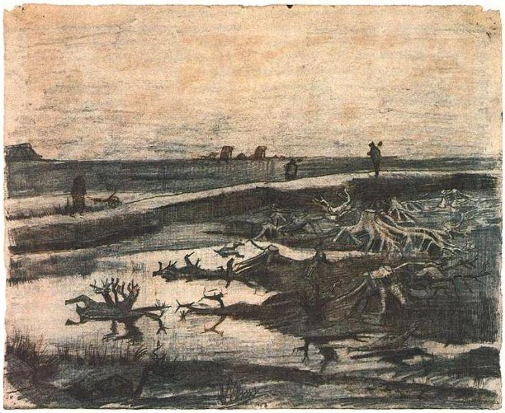 Vincent van Gogh -Landscape with Bog-Oak Trunks