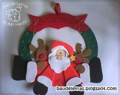 Aqui les comparto los moldes gratis para hacer esta hermosa guirnalda de navidad Papa Noel y renos, realizada en goma eva. Creditos | BAU DE LETRAS
