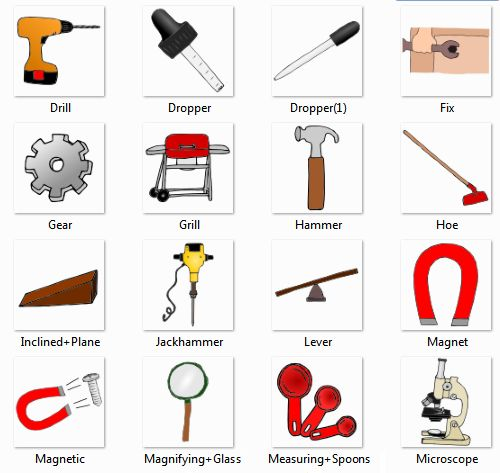 Drill, Dropper, Fix, Gear, Grill, Hammer, Hoe, Inclined +Plane, Jackhammer, Lever, Magnet, Magnetic, Magnifying+ Glass, Measuring+ Spoons, Microscope