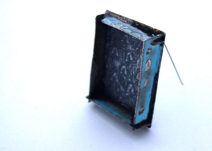 Esme Parsons -   Blue Boxy Urbanisation brooch  sterling silver, steel pin, enamel  2015  -  https://www.facebook.com/esmeparsonsjewellery: