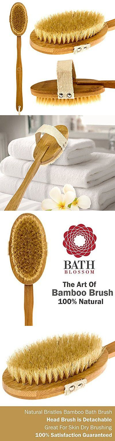 Bath Brushes and Sponges: Bath Blossom Bamboo Brush For Back Scrub - Long Handle Natural Bristles Shower BUY IT NOW ONLY: $44.33