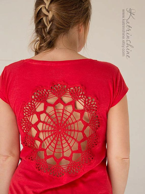 Red tshirt  with upcycled vintage crochet doily by katrinshine, $35.00