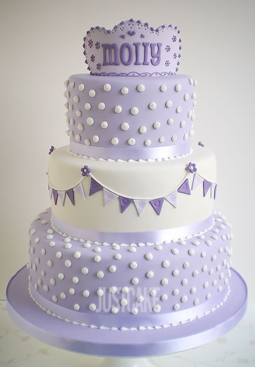 3 Tier Polka Dots and Bunting Birthday Cake by Just Cake in Norfolk