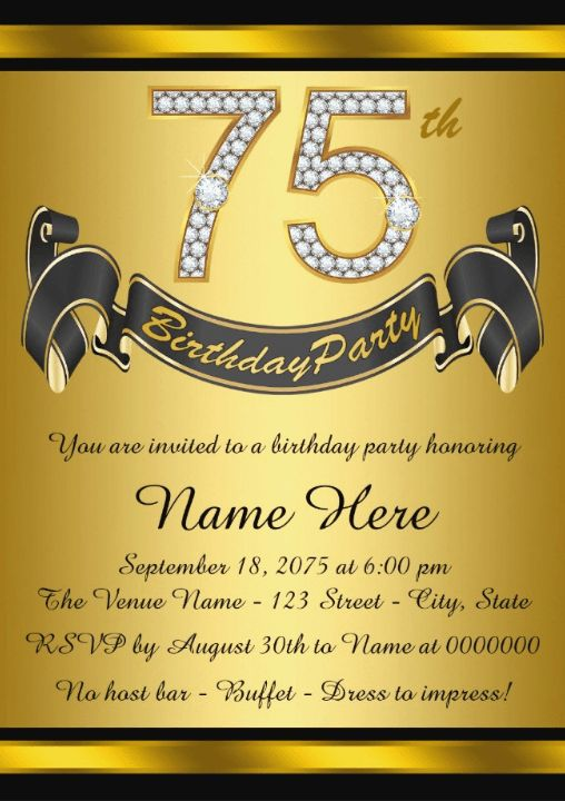 Gold Personalized 75th Birthday Party Invitations