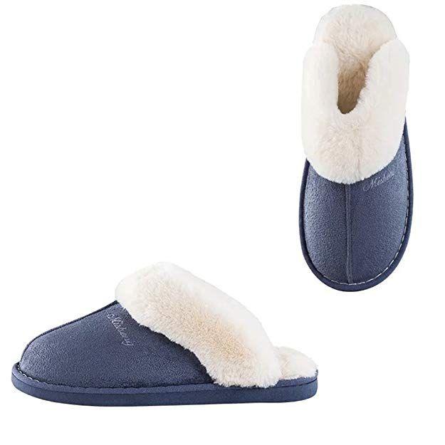 229ca108612ac Womens Slipper Memory Foam Fluffy Slip-On House Suede Fur Lined/Anti ...