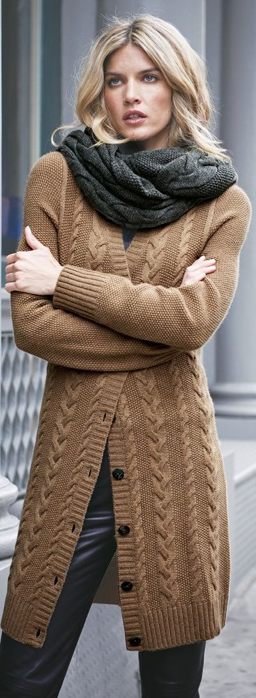 Infinity scarf, brown cardigan and leather pants