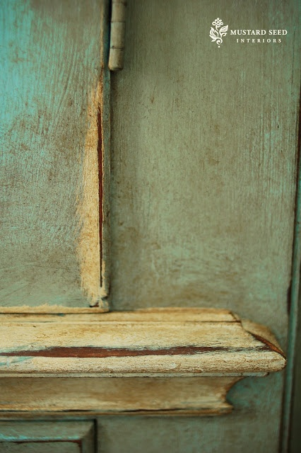 Waxed and distressed blue at Miss Mustard Seed