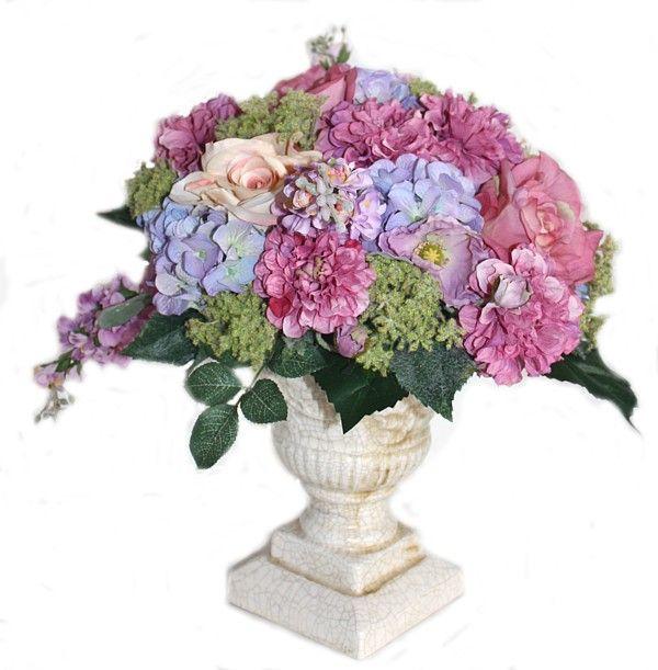 Luxury Cerise Pink Roses & Blue Purple Hydrangea Urn FrenchGardenHouse.com