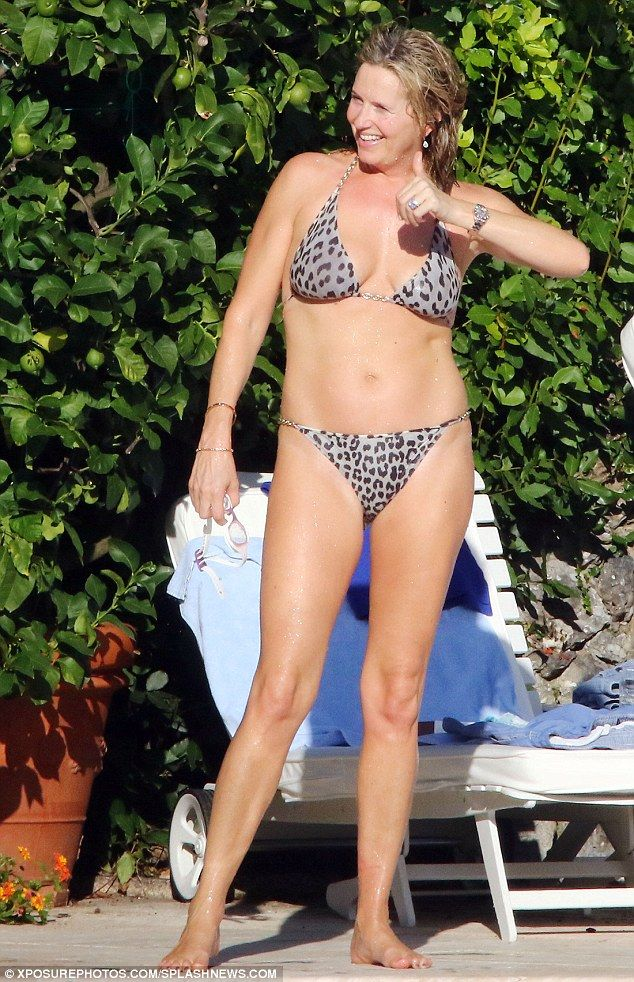 Hot legs! Penny Lancaster lived up to her husband Rod's song, Hot Legs, when the model and photographer showcased her trim and toned figure on holiday in Italy
