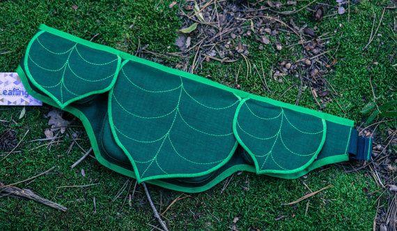 Dark Green Leaf Fanny Pack 4 Pocket Hip Bag by LeaflingBags