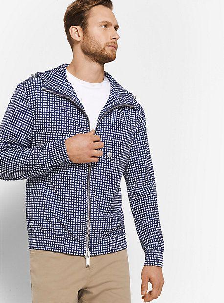Dot-Print Hooded Bomber Jacket