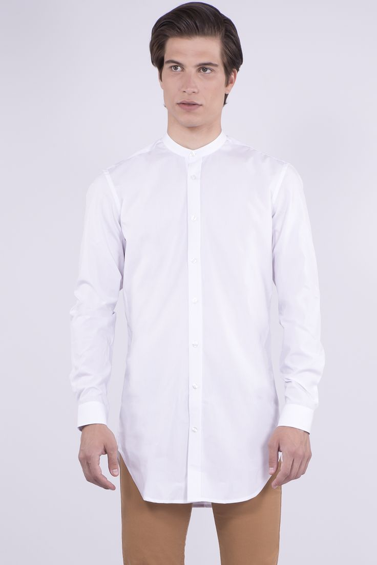 Longline Shirt With Grandad Collar: 47,90€ #aristotelibitsiani #shirt