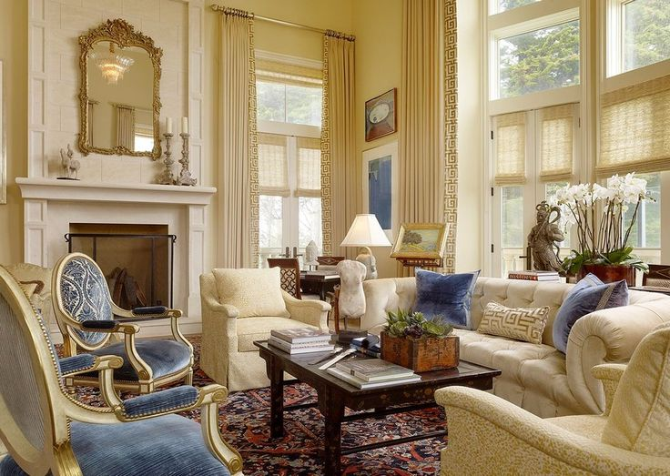 Traditional Living Room with Pleated Linen Drapery Panels with Greek Key Trim Made to Order, Lee Industries 3701-01 CHAIR