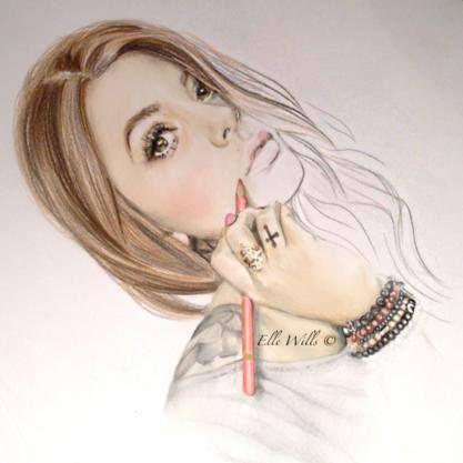 Australská kreslířka a tatérka Elle Wills se specializuje především na realistické portréty. Většinou používá barevné pastelky, někdy vodovky. Její kresby se dají sotva odlišit od fotografie - natolik jsou realistické. Ve svém bl