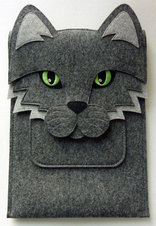 Cat MacBook Air 13 inch case - Laptop felt bag
