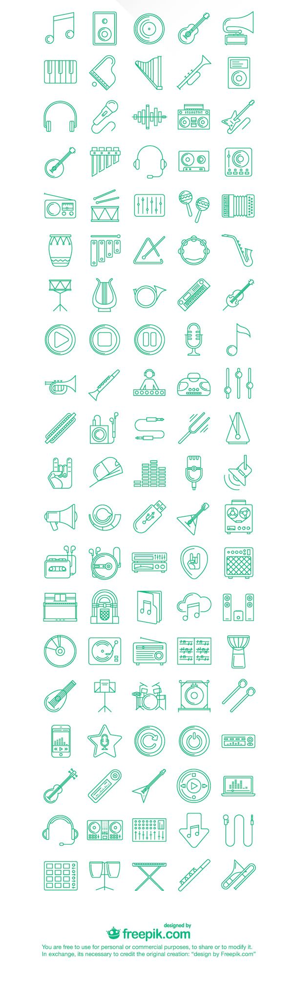 Free Download : 100 Music Icons (SVG, PNG)