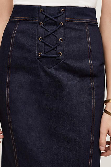Lace-Up Denim Skirt - anthropologie.com