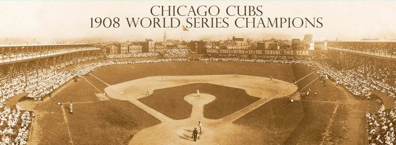 Chicago Cubs 1908 World Series Champions Panoramic Canvas Print