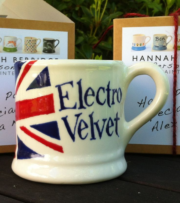 Eurovision 2015 entry 'Electro Velvet' Mug comissioned by the BBC for Alex Larke and Bianca Nicholas. Hand Painted by Hannah Berridge.  www.hannahberridge.com