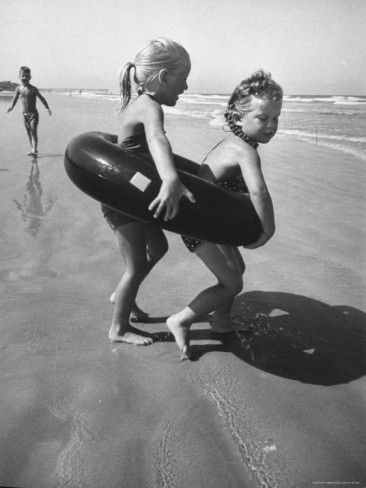Little Girls Playing Together on a Beach Premium Photographic Print by Lisa Larsen at AllPosters.com