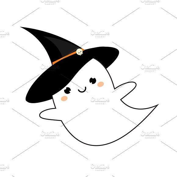 Cute kawaii ghost icon by Bunny's Little Shop on @creativemarket